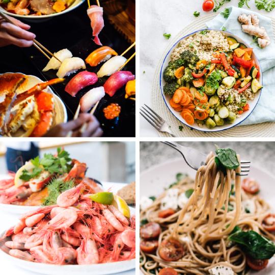 Sushi, schaaldieren, vegetarische salade en pastagerechten zijn goed te combineren met wijn van de Rabigato druif