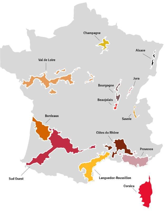 Kaart van Frankrijk - wijngebieden | Bekijk het beste aanbod van Franse wijnen samengebracht in één online winkel op Vindmijnwijn.nl
