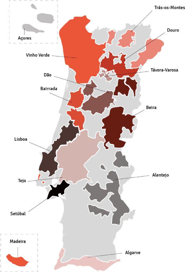 Kaart van Portugal - wijngebieden | Bekijk het beste aanbod van Portugese wijnen samengebracht in één online winkel op Vindmijnwijn.nl