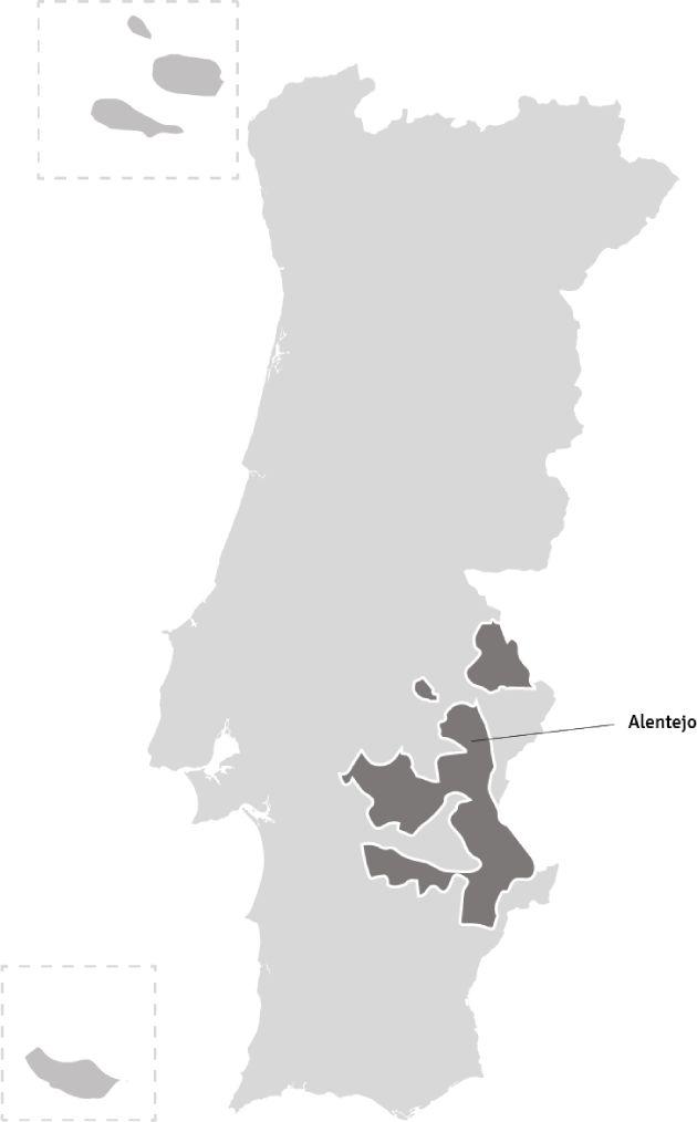 Kaart van Portugal – wijnstreek Alentejo | Bekijk het beste aanbod van Alentejo wijnen samengebracht in één online winkel op Vindmijnwijn.nl