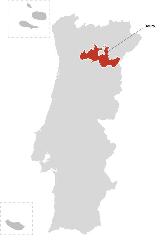 Kaart van Portugal – wijnstreek Douro | Bekijk het beste aanbod van Douro wijnen samengebracht in één online winkel op Vindmijnwijn.nl