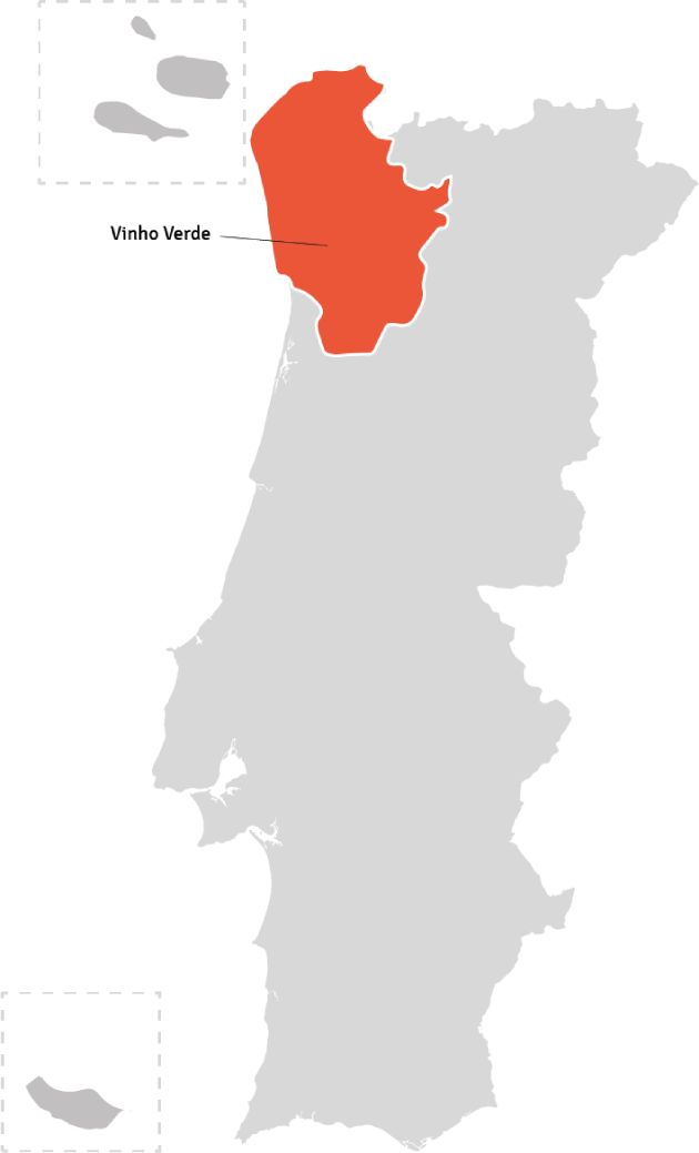 Kaart van Portugal – wijnstreek Vinho Verde | Bekijk het beste aanbod van Vinho Verde wijnen samengebracht in één online winkel op Vindmijnwijn.nl