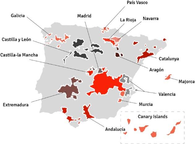 Kaart van Spanje - wijngebieden | Bekijk het beste aanbod van Spaanse wijnen samengebracht in één online winkel op Vindmijnwijn.nl
